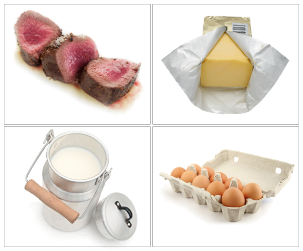 Grass-fed red meat, cultured butter, raw milk and pasture raised eggs
